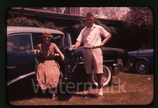 1960s Ektachrome Photo slide Lady with camera Buick Automobile Car #1