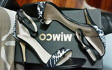 💕💕RRP $229.00 New black Leather fabric Mimco Heels SANDALS SHOES size 39 OR 8