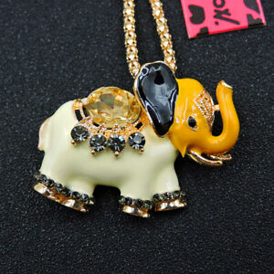 Hot Yellow Enamel Crystal Cute Elephant Betsey Johnson Sweater Chain Necklace