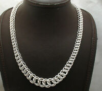 "18"" Bold Graduated Interlocked Circle Chain Link Necklace Real Sterling Silver"