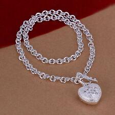 Damenhalskette Ankerkette mit Herz 45cm Halskette pl. mit  Sterlingsilber