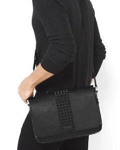 MICHAEL KORS 2020 Jet Set Men's Studded Black Messenger Bag TABLET Medium Work