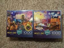 2 Buffalo Games Night and Day Puzzles. 1000 Pieces 27""