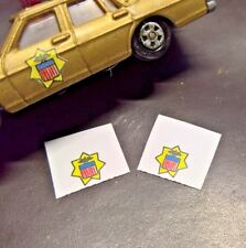 Matchbox Lesney,Hot wheels,ect 1/64 scale  (Set of 2 State Patrol Door Stickers)