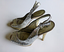 """Guess Womens Size 7M Silver & Gold Glitter 5"""" Open Toe Heels Great Condition"""