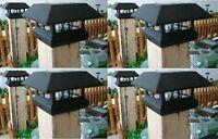 4 Kits Black New Outdoor Garden Solar Panel Post Deck Cap Light