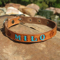 """BROWN 5/8"""" Painted Personalized Pet Name, Paw Prints, Small Leather Dog Collar"""