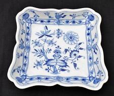 "Antique MEISSEN Germany Crossed Swords Mark Blue ONION Pattern 9"" Square Bowl"