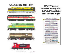 """Seaboard Air Line Locomotives 11""""x17"""" Railroad Poster by Andy Fletcher signed"""