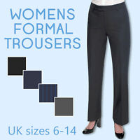 Ladies Womens Work Trousers Business Office Formal Straight Leg Pants Size 6-14