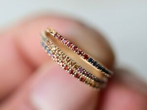 18k Gold Multi Sapphire Thin Pave eternity wedding band Sapphire Stacking Ring