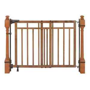 Banister/Stair Gate 28.75 in. x 33 in. Re-Installation Sturdy Barrier Wood