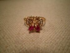 Designer .75ct Natural Ruby Diamond 14K Yellow Gold BUTTERFLY Ring