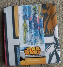 "STAR WARS SHOWER CURTAIN DARTH VADER, YODA, R2D2, CHEWBACA, 70"" X 72"" NWT $39.99"