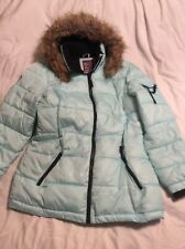 Justice Girls Size 18 Plus Chevron Puffer Quilted Jacket Faux Fur Hooded Blue