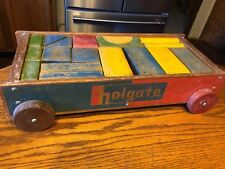 Vintage Holgate Block Set with Wagon & 26 Blocks of different Colors