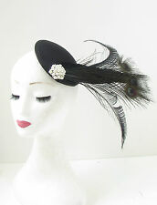 Black Ivory White Peacock Feather Fascinator Hair Clip Headpiece Vtg Races 124