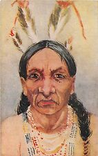 B61/ Native American Indian Postcard c1910 Headdress Feathers Long Hair 14