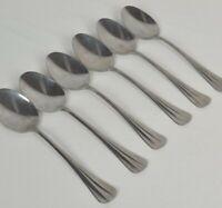 Smithfield 6 Soup Spoons Tri Fold Ridge Handle International Silver Stainless