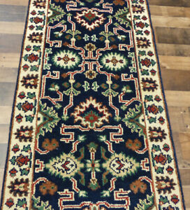 """2'6""""x8' New Hand knotted Wool super Serapi Herizz Oriental Blue area rug runner"""