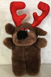 Dark Brown Soft Plush Holiday Floppy  Reindeer with Red Antlers Animal Stuffed