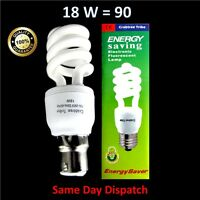 Low Energy Power Saving 18W = 90W Spiral BLUE Light Bulb Clip-On Fluorescent UK