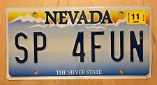 "NEVADA VANITY AUTO LICENSE PLATE "" SP 4 FUN "" STATE POLICE PARKS  SWIMMING POOL"