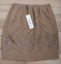 NEW Darlings Ciara floral embroider Beige Brown Mini Skirt 8 Summer Beach Day