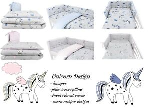 UNICORN Baby Bedding Set fit Cot 120x60cm or Cot Bed 140x70 -BABY GIRL BOY