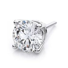 Single Diamond Brilliant Men's Stud Earring 100% Natural 14K White Gold 0.15CT