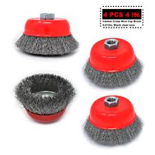 """Carbon Crimp Wire Cup Brush 4"""" 5/8""""-11 4 pcs"""