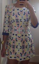 NWT Thick Sparkly Brocade Asian Chun Mei Na Geometric Fashion Dress Size S/M