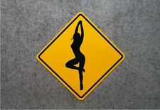 "DANGEROUS FEMALE CURVES SIGN    /    16"" X 16"" ALUMINUM  WARNING PLAQUE"
