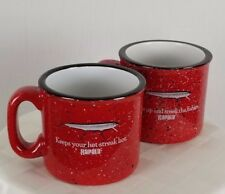 RAPALA Red Speckled Black Rim Large Mugs - Set of 2 Mugs - Fishermen Mugs