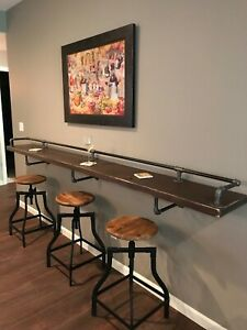"Black Pipe Drink/Bar Rail, Mini Bar 3 Shelf Supports,""DIY"" Parts Kit - 8"" Deep"