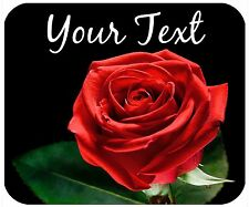MOUSE PAD CUSTOM PERSONALIZED THICK MOUSEPAD - RED ROSE - ADD ANY TEXT FREE