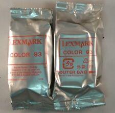 2 Genuine OEM LEXMARK COLOR 83 Ink Cartridges NEW NO BOX