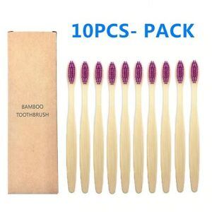 10pcs Set Soft Bristle Bamboo Colorful Natural Bristle Charcoal Toothbrushes