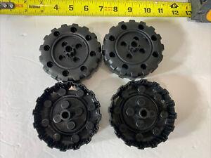 "4 Plastic Tinker Toys Black Wheels 3 3/4"""