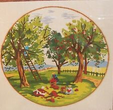"Vintage Crewel KIT-""APPLE TIME"" 12""x12"" (1980) design from Sunset Stitchery NIP"