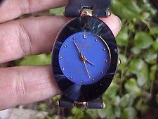 geneva blue face japan movement women's watch analog quartz black band
