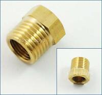 "BSP 1/4"" Male x 1/8"" Female Brass Thread Hex Reducer Bushing Reduce Plumbing"