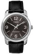 Timex TW2R86600, Hombres Basics Reloj Negro de Piel, 39MM, 30 Metros Estanco