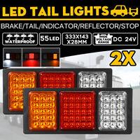 2x 24V 55 LED Trailer Lights Tail Light Ute Boat Truck Caravan Indicator Lamps