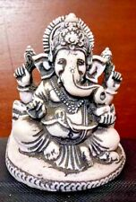 Statue of Hindu Lord Ganesh Seated Reading a Book Stone Sculpture Rare Home Deco