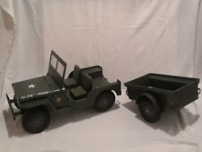 Vintage Green Hasbro G.I. Joe 7000 Jeep with Trailer (FOR PARTS OR REPAIR)