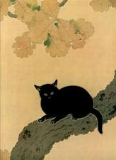 CAT, SITTING ON TREE BRANCH, FROM JAPANESE PRINT BY HISHIDA SHUNSO, MAGNET