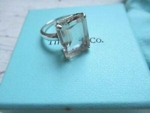 Tiffany & Co Emerald Cut Sparkler Ultra Light Smokey Quartz Cocktail Ring 7 2009