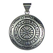 Sterling Silver Wheel of the Year Pendant - Pagan Sabbat Wicca Jewelry Zodiac