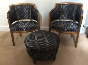 Attractive Pair Of Salon Tub Chairs With Matching Footstool